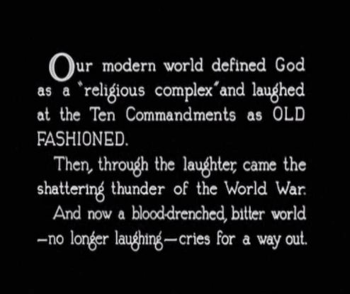 A title card introducing the film, blaming World War I on disobedience to God's Ten Commandments