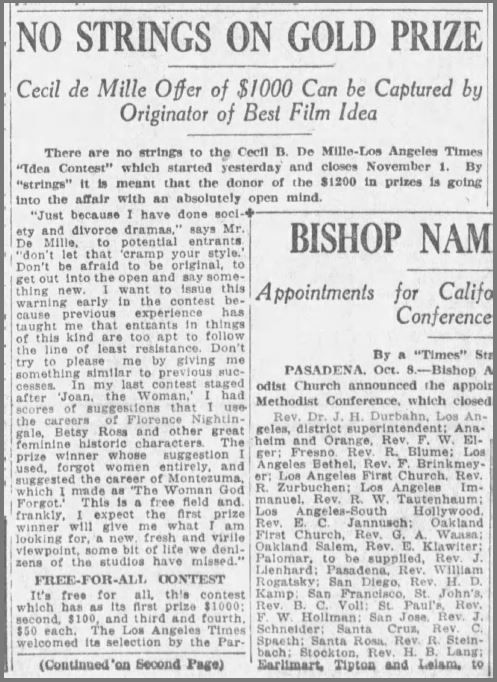 "An LA Times article announcing ""No Strings on Gold Prize"" talking about DeMille's contest to find a new story idea for his next movie"