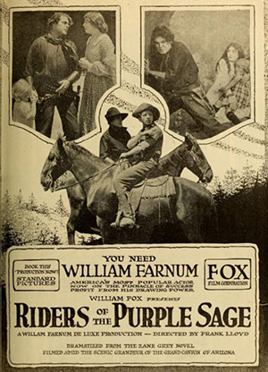 A poster advertising the lost film Riders of the Purple Sage (1918).